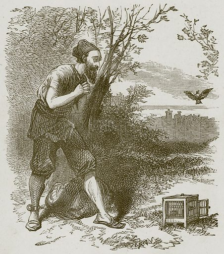 The Slave freeing the Bird. Illustration for Lessons from Noble Lives (Wesleyan, c 1870).