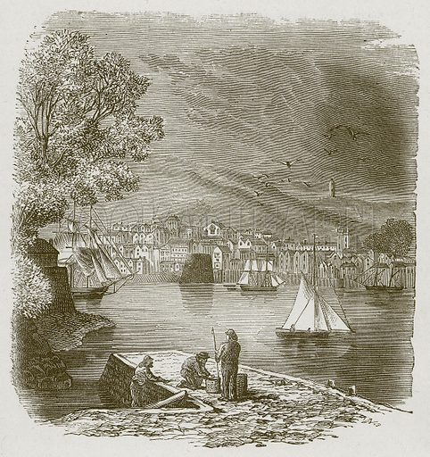 Dartmouth Harbour. Illustration for Lessons from Noble Lives (Wesleyan, c 1870).