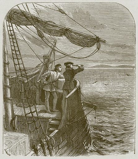 Captain Cook on Board the Endeavour. Illustration for Lessons from Noble Lives (Wesleyan, c 1870).