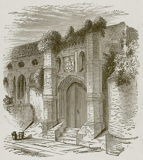 Gateway of Wolsey's School at Ipswich. Illustration for Lessons from Noble Lives (Wesleyan, c 1870).