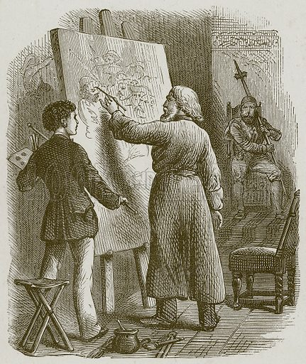 He took the Brush into his Left Hand. Illustration for Lessons from Noble Lives (Wesleyan, c 1870).