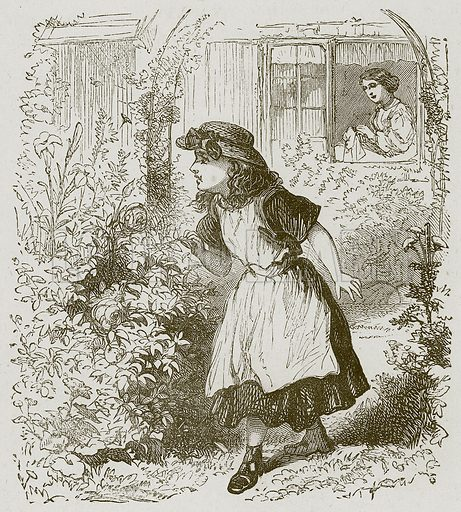 The Child and Lily. Illustration for Lessons from Noble Lives (Wesleyan, c 1870).