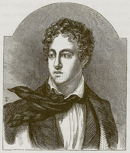 Lord Byron. Illustration for Extraordinary Men: Their Boyhood and Early Life by William Russell (George Routledge, c 1870).