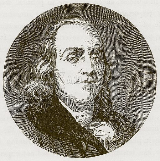 Benjamin Franklin. Illustration for Extraordinary Men: Their Boyhood and Early Life by William Russell (George Routledge, c 1870).