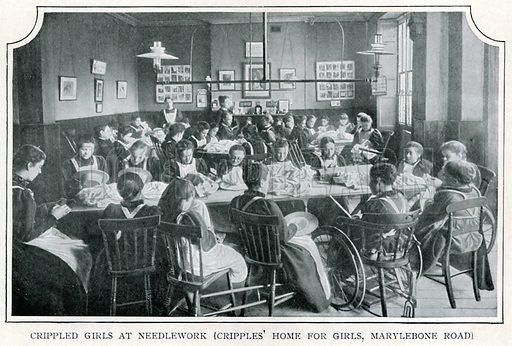Crippled Girls at Needlework (Cripples' Home for Girls, Marylebone Road)