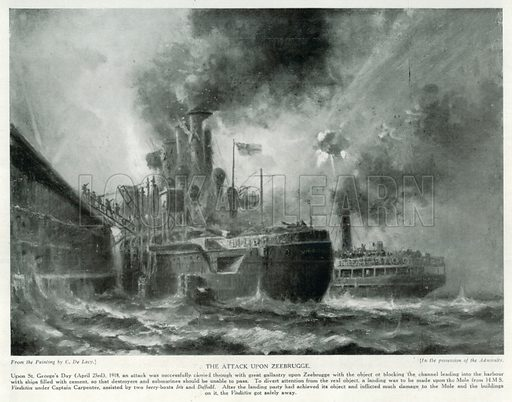 The Attack upon Zeebrugge. Illustration for Story of the British Nation (Hutchinson, c 1920).