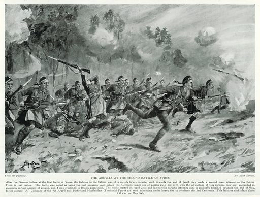 The Argylls at the Second Battle of Ypres. Illustration for Story of the British Nation (Hutchinson, c 1920).