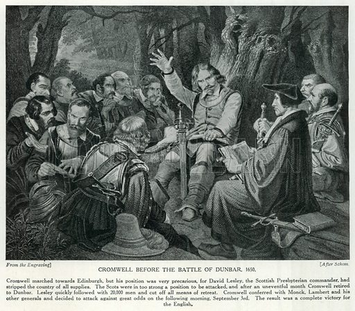Cromwell before the Battle of Dunbar, 1650. Illustration for Story of the British Nation (Hutchinson, c 1920).