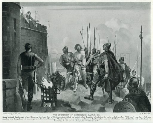 The Surrender of Bamborough Castle, 1095. Illustration for Story of the British Nation (Hutchinson, c 1920).
