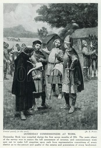 Domesday Commissioners at Work. Illustration for Story of the British Nation (Hutchinson, c 1920).