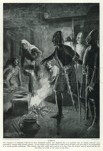 Curfew. Illustration for Story of the British Nation (Hutchinson, c 1920).