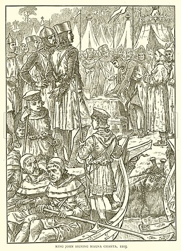 King John signing Magna Charta, 1215. Illustration for the Historical Scrap Book (Cassel, c 1880).