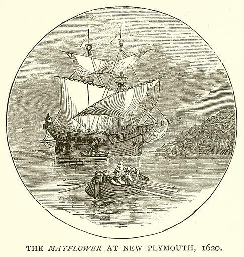 The Mayflower at New Plymouth, 1620