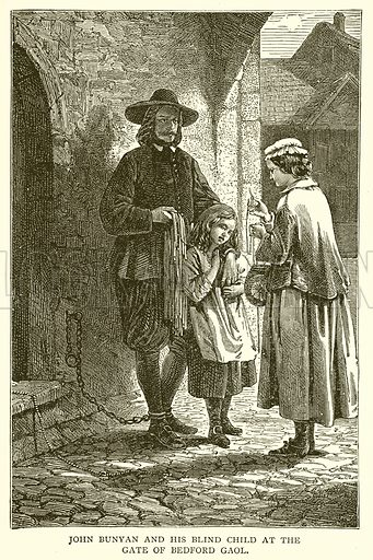 John Bunyan and his Blind Child at the Gate of Bedford Gaol. Illustration for the Historical Scrap Book (Cassel, c 1880).