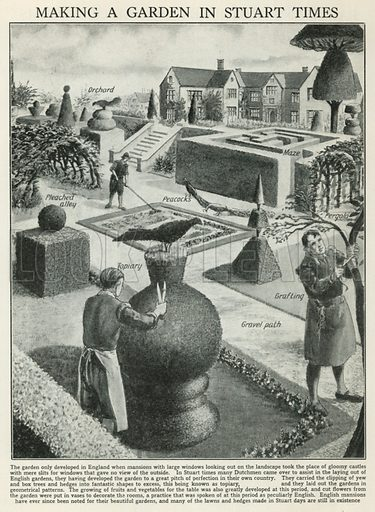Making a Garden in Stuart Times. Illustration for The Romance of the Nation edited by Charles Ray (Amalgamated Press, c 1925).