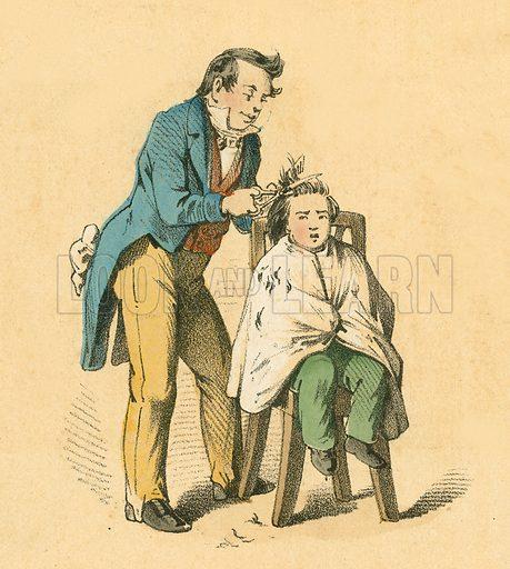 Hair cut.  Victorian scrap.