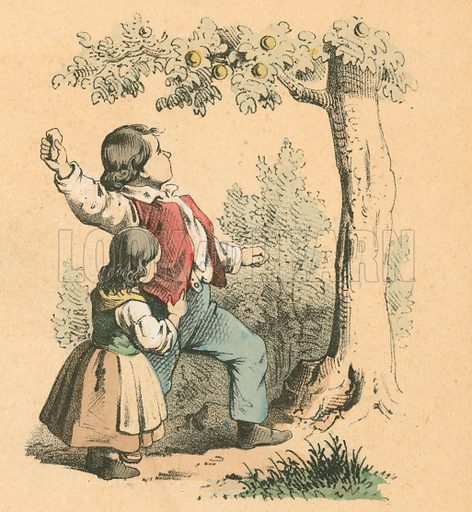 Knocking down fruit.  Victorian scrap.