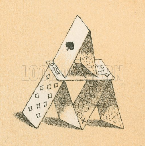 House of cards.  Victorian scrap.