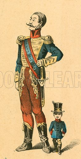 Soldier and midget.  Victorian scrap.