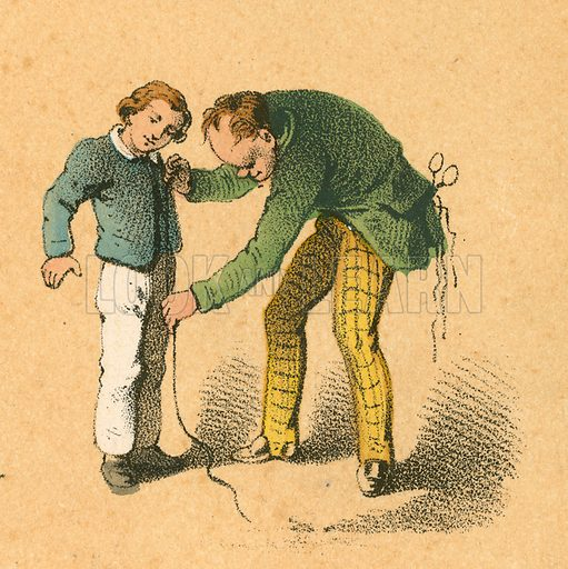 Boy being measured by his tailor.  Victorian scrap.