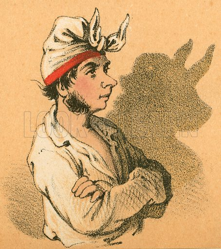 Young man and bull shadow.  Victorian scrap.