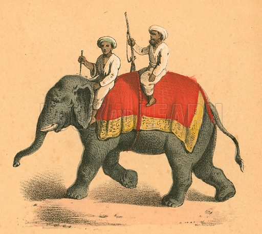 Indians on an elephant. Victorian scrap.