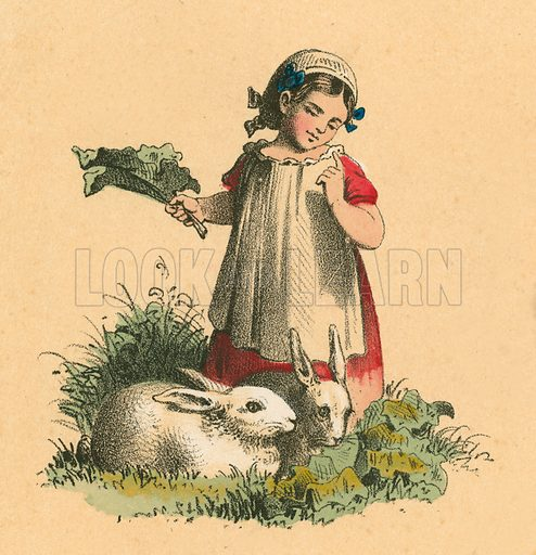 Girl with her rabbits.  Victorian scrap.