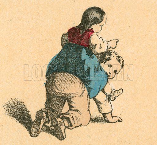 Girl riding a boy.  Victorian scrap.
