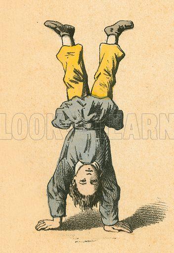 Handstand.  Victorian scrap.