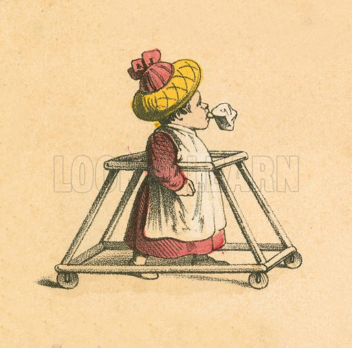Baby in a stroller.  Victorian scrap.