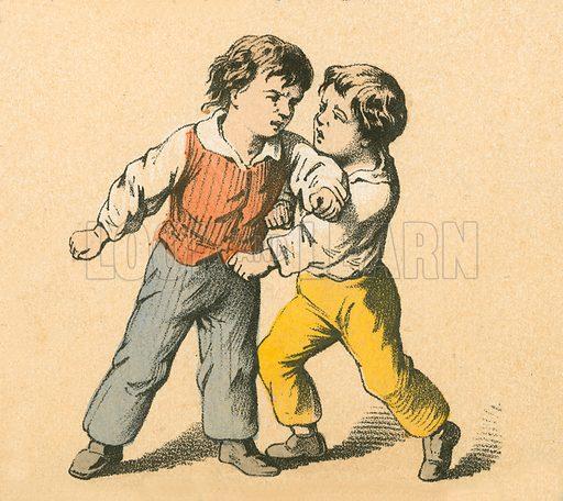 Boys fighting. Victorian scrap.