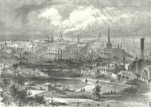 Birmingham. Illustration for Our Own County (Cassell, c 1880).