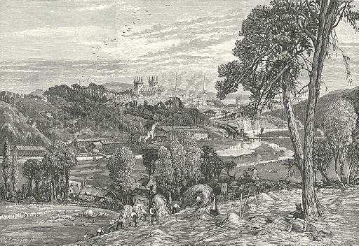 Exeter, from Exwick Fields. Illustration for Our Own County (Cassell, c 1880).