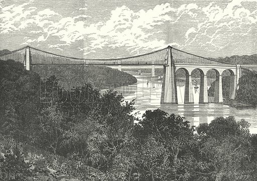 The Menai Suspension Bridge. Illustration for Our Own County (Cassell, c 1880).