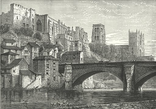 Durham, from the River. Illustration for Our Own County (Cassell, c 1880).