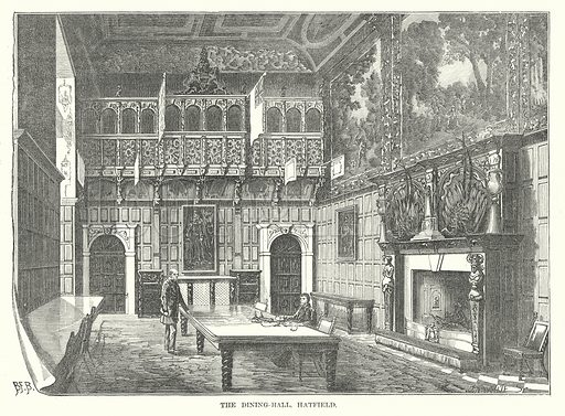 The Dining-Hall, Hatfield. Illustration for Our Own County (Cassell, c 1880).