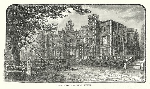 Front of Hatfield House. Illustration for Our Own County (Cassell, c 1880).