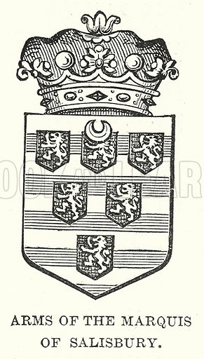 Arms of the Marquis of Salisbury. Illustration for Our Own County (Cassell, c 1880).