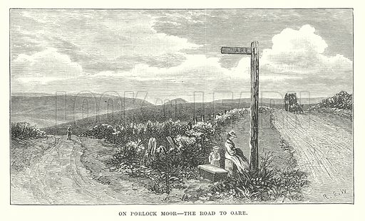 On Porlock Moor – The Road to Oare. Illustration for Our Own County (Cassell, c 1880).