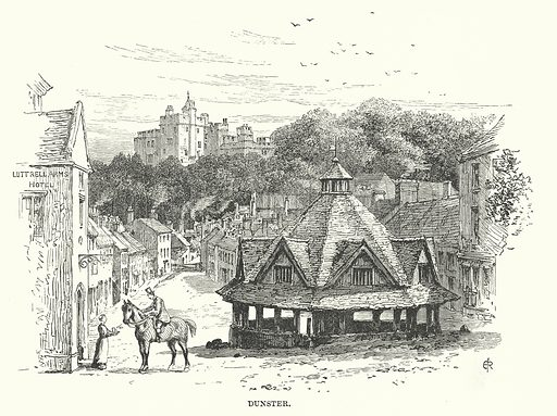 Dunster. Illustration for Our Own County (Cassell, c 1880).