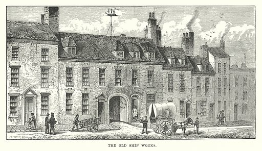 The Old Ship Works. Illustration for Our Own County (Cassell, c 1880).