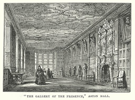 """""""The Gallery of the Presence,"""" Aston Hall. Illustration for Our Own County (Cassell, c 1880)."""