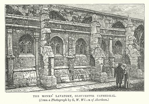 The Monks' Lavatory, Gloucester Cathedral. Illustration for Our Own County (Cassell, c 1880).