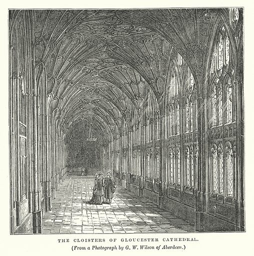 The Cloisters of Gloucester Cathedral. Illustration for Our Own County (Cassell, c 1880).