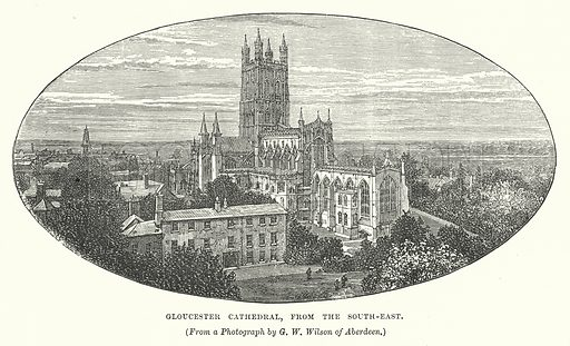 Gloucester Cathedral, from the South-East. Illustration for Our Own County (Cassell, c 1880).