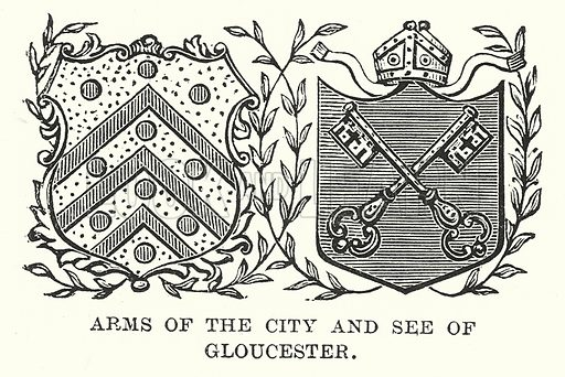 Arms of the City and See of Gloucester. Illustration for Our Own County (Cassell, c 1880).