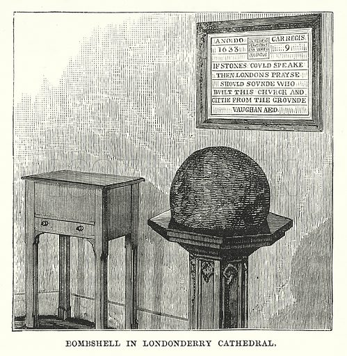Bombshell in Londonderry Cathedral. Illustration for Our Own County (Cassell, c 1880).