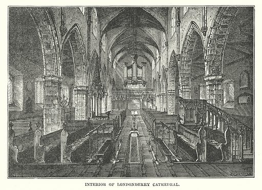 Interior of Londonderry Cathedral. Illustration for Our Own County (Cassell, c 1880).