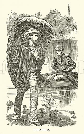 Coracles. Illustration for Our Own County (Cassell, c 1880).