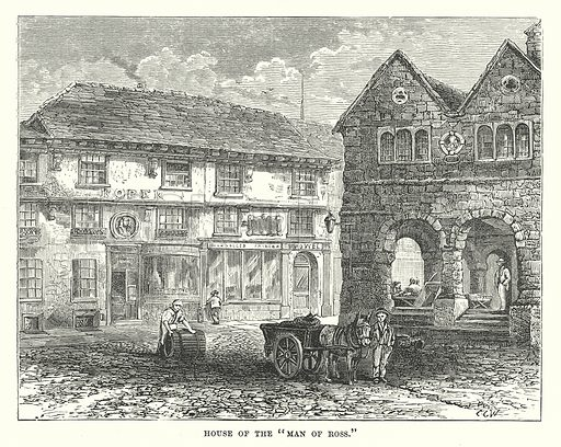 """House of the """"Man of Ross."""" Illustration for Our Own County (Cassell, c 1880)."""